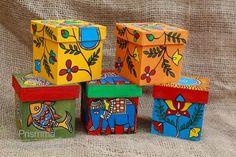 Madhubani #FolkArt (from Bihar, India) on Boxes