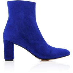 Maryam Nassir Zadeh Suede Ankle Boots (66500 DZD) ❤ liked on Polyvore featuring shoes, boots, ankle booties, blue, suede booties, chunky booties, block heel ankle boots, blue bootie and block heel booties