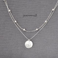 16 inch Silver double chain coin necklace, Multi Layer Necklace, Hammered coin necklace, beaded chain, linked chain, hammered circle disc necklace