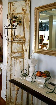 vintage door with lantern