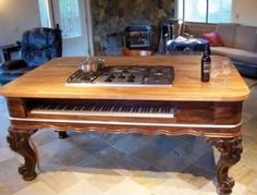 Kitchen island with cooktop - The Salvaged & Repurposed Piano