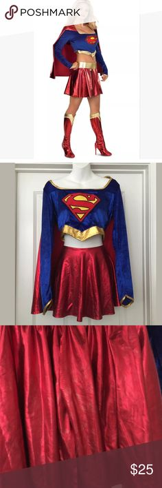 "Superwoman super girl 2pc costume sexy M Halloween Two-Piece Secret Wishes Deluxe Adult Supergirl Costume Item# 888441 Size medium ,size tag has been removed please see aprox measurements.  Does not come eighth boots or gold belt  Minor discoloration/rubbing on the back of the skirt please see photo  Bust 17.5"" Length 16"" Sleeve 25""  Skirt 11"" Length 13.25"" Outfit has stretch    Smoke/pet free home Marval comics Skirts Mini"