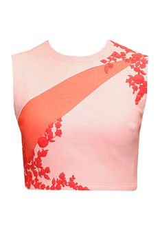 Peach and pink embroidered crop top available only at Pernia's Pop-Up Shop.