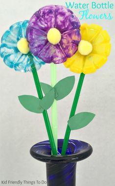plastic bottle flower - recycled kid crafts - acraftylife.com #preschool #craftsforkids #crafts #kidscraft