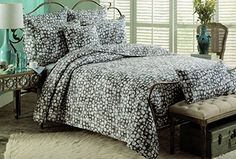 cynthia rowley cotton 3piece quilt set stone print geometric ikat bedspread quilted bedding gray
