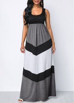 9d9514c1c8b Color Block High Waist Scoop on Neck Maxi Dress