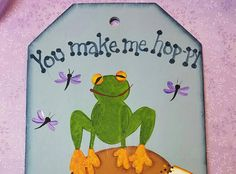 Frog Sign hand painted Dragonfly ladybug Daisy