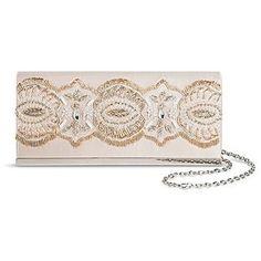 Tevolio Women's Beaded Satin Envelope Clutch Handbag