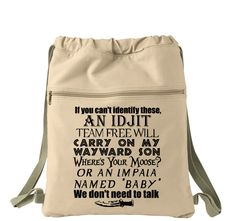 If You Don't Know Supernatural, We Don't Need To Talk Canvas Back Pack, Drawstring Bag, Canvas Cinch Sack Bag
