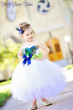 Peacock Feather Flower Girl Dress by FrillyFairyTales on Etsy, $95.00