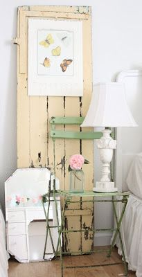 Distressed Door - this is a clever way to add color to a room, especially if you are a renter, or you don't want to paint the room - via Dreamy Whites: A Bedroom Makeover