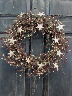 primitive snowflake wreath - Google Search