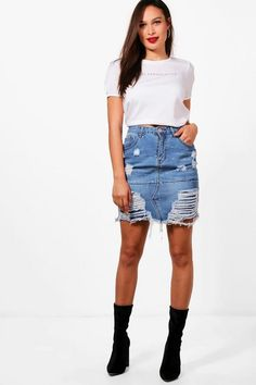 dd65e5a4b3 Tall Charley Distressed Diamante Denim Skirt Tall Clothing, Style Wish,  Outfit Goals, Denim. Boohoo NA