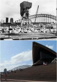 Demolition of Fort Macquarie tram shed 1958 & same view of Sydney Opera House 2015 There are actually people in Australia who preferred the old Tram Sheds. takes all sorts [Fairfax/Getty images>Kevin Sundgren. By Kevin Sundgren] Sydney Skyline, Sydney City, Sydney Harbour Bridge, Historical Pictures, South Wales, Cool Eyes, Old Photos, Spotlight, Opera House