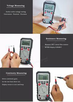 Mustool® mt826 verdadero valor eficaz / ℉ probador digital profesional multímetro AC / DC corriente AC / DC resistencia a la tensión de la continuidad de frecuencia capacitancia ℃ transistor diodo con la línea de prueba de silicona y cable USB