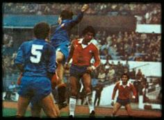 Chile 1 Spain 1 in July 1981 in Santiago. Spain defend a corner in this friendly.