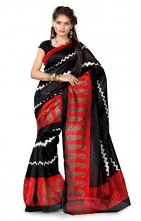 Soft Red Black Art Silk Saree with Blouse