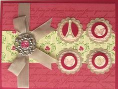 This card created by Janelle Jaksitz features the Stampin' Up! products: Collage Curios stamp set and Designer Builder Brads.