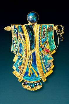 "Marianne Hunter Jewelry. This piece is named ""Kabuki Kachina gentles the world."" Beautiful enamel and stones."