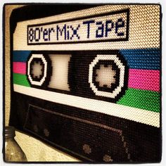 Large 80´er Mix Tape wall art hama perler beads by dildie