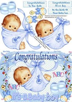 A lovely card to make and give to the proud parents on the arrival of there baby boy Has three greeting tags for you to choose the greeting Vintage Baby Boys, New Baby Boys, New Born Baby Card, Congratulations Baby Boy, Baby Clip Art, Baby Boy Art, Image 3d, Baby Shower Souvenirs, Images Vintage