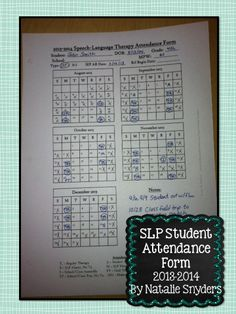 Stay organized with this FREE speech therapy attendance form for SLPs!  UPDATED for 2015-2016!  by Natalie Snyders