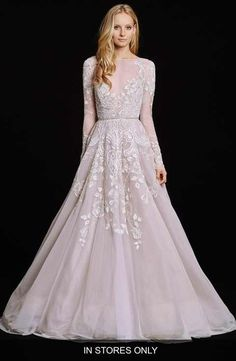 Hayley Paige 'Hayley' Embellished English Net & Tulle Long Sleeve Ballgown (In Stores Only)