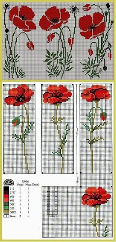 Cross Stitch Pattern, Red Popp