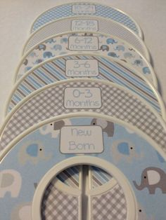 Blue and Grey Elephant Nursery Baby Closet Dividers.. Gotta do this Navy and White