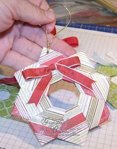 Folded Wreath Ornaments and Tutorial