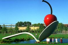 Claes Oldenburg /// 1985 - 1988 /// Spoonbridge and Cherry /// Stainless steel and aluminum painted with polyurethane enamel /// 9 x x m /// Minneapolis Sculpture Garden, Walker Art Center, Minneapolis Claes Oldenburg Sculptures, Juan Sanchez Cotan, Minneapolis Sculpture Garden, Pop Art Party, Art Environnemental, Art Database, Everyday Objects, Art Plastique, Art History