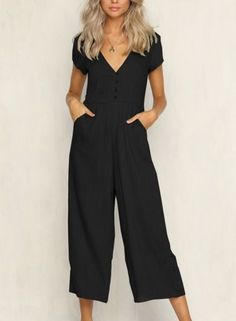 237973510d Summer Casual Solid Short Sleeve V Neck Wide Leg Jumpsuit With Pockets