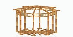 Kiosco Octogonal con tejado a 16 aguas de madera.
