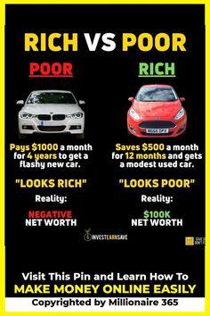 Entrepreneur Motivation, Business Motivation, Business Tips, Entrepreneur Books, Rich Vs Poor, Make Money Online, How To Make Money, Financial Tips, Financial Literacy