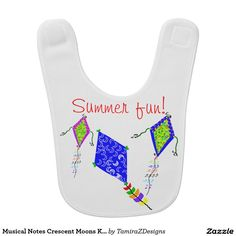 Musical Notes Crescent Moons Kite Flying Baby Bib