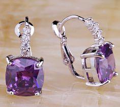 February Birthstone Dainty Style Purple Amethyst Earrings