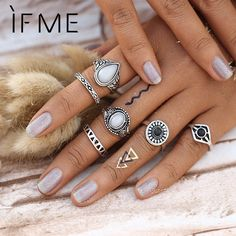 Steampunk Bijoux Vintage Silver Color Black Stone Knuckle Ring Set White Opal Midi Rings BOHO Female Charms Jewelry Anillos