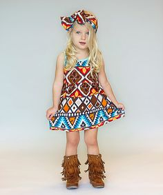 Sew Chill Brown Geometric Maybrie Lap Dress - Infant, Toddler & Girls by Sew Chill #zulily #zulilyfinds