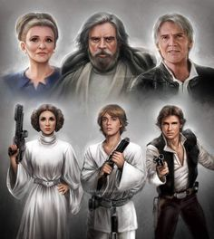 """daekazu: """" Here they are! Leia, Luke and Han then and now. :) BIG Trio together! Pics: 26 + 30 / 365 (I drew one every day) """" Star Wars: Past and Present by daekazu Star Wars Film, Star Wars Rebels, Star Trek, Star Wars Art, Chevalier Jedi, Tableau Star Wars, Star Wars Personajes, Images Star Wars, Donnie Darko"""