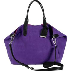 Cole Haan Crosby Suede Small Shopper ($210) ❤ liked on Polyvore featuring bags, handbags, shoulder bags, neon ultraviolet, suede handbags, cole haan handbags, purple purse, man bag and shopping bag
