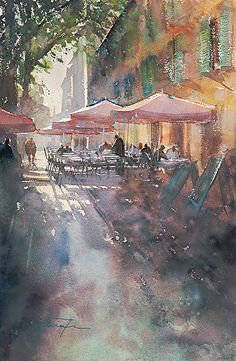 Arles, France by Keiko Tanabe ~ Watercolor ~ 21 1/2 x 14 1/4 inches (54.5 x 36 cm)