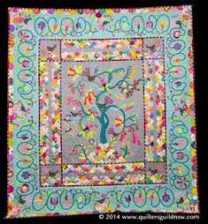 """""""Night Garden"""" quilt by Liesel Moult. 1st prize, predominantly applique. Design Source: 'Tree of Life' & 'Garden Warriors' quilt patterns by Sue Cody"""