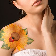 Sunflower with Lady bug Tattoo