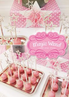 Magic Wand Cake Pop Sticks on pink cake pops for a Magical Fairy Themed Baby Shower. Pink & silver decorations & desserts for a new mom-to-be! Princess Birthday, Princess Party, Girl Birthday, Pink Princess, Magic Birthday, Birthday Crowns, Disney Princess, Birthday Treats, Birthday Parties