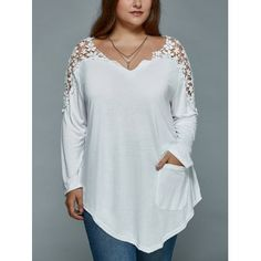 SHARE & Get it FREE | Plus Size Lace Insert Long Sleeve Tunic T-ShirtFor Fashion Lovers only:80,000+ Items·FREE SHIPPING Join Dresslily: Get YOUR $50 NOW!