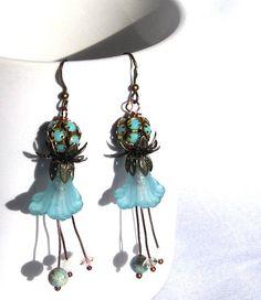 whimsical aqua flower earring whimsical earrings by GlobalBrights
