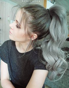 Top Ponytailof nice gray ombre hair, wonderful curly ponytail idea from our cutomer, cannot wait to try