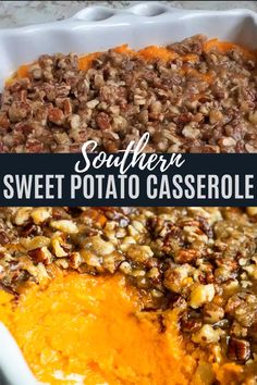 This Southern Sweet Potato Casserole recipe is simple to make and a family tradition at holidays like Thanksgiving, Christmas and Easter. The classic comfort food side is creamy and sweet in the middle and topped with a crispy pecan topping. Best Thanksgiving Recipes, Thanksgiving Side Dishes, Thanksgiving Desserts, Holiday Recipes, Southern Thanksgiving Menu, Thanksgiving Sweet Potato Recipes, Southern Thanksgiving Recipes, Thanksgiving Casserole, Vegetarian Thanksgiving