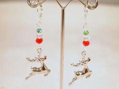 Christmas Earrings Raindeer Beaded Pierced by CKDesignsUS on Etsy, $8.75