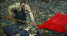 Фонд Гелия Коржева Триптих «Коммунисты: Поднимающий знамя», 156×290 см